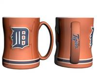 Detroit Tigers Coffee Mug - 14oz Sculpted Relief - Orange