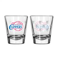 Los Angeles Clippers Shot Glass - 2 Pack Satin Etch - Special Order