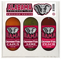 Alabama Crimson Tide Grilling Gift Set 3-12 oz Sauces (Cajun,Lime and Peach Grilling Sauce)