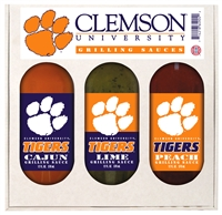 Clemson Tigers Grilling Gift Set 3-12 oz (Cajun, Lime and Peach)