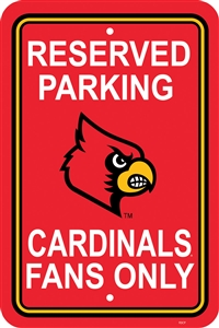 "Louisville Cardinals 12"" x 18"" Plastic Parking Sign"