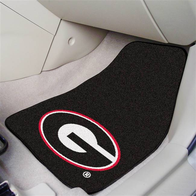 "Georgia Bulldogs 2-piece Carpeted Car Mats 18""x27"", Black"
