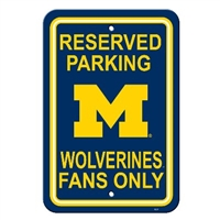 "Fremont Die Michigan Wolverines 12"" X 18"" Plastic Parking Sign"
