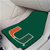 "Miami Hurricanes 2-piece Carpeted Car Mats 18""x27"""