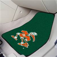 "Miami Hurricanes 2-piece Carpeted Car Mats 18""x27"" - Mascot Design"