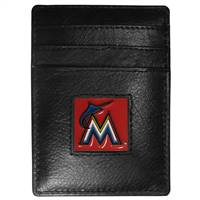 Miami Marlins Wallet Leather Money Clip Card Holder