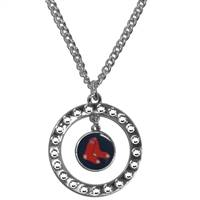 Boston Red Sox Necklace Chain Rhinestone Hoop