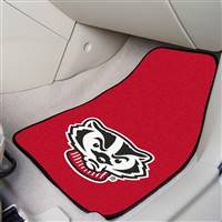 "Wisconsin Badgers 2-piece Carpeted Car Mats 18""x27"""