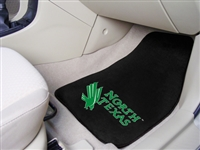 "North Texas Mean Green 2-piece Carpeted Car Mats 18""x27"""