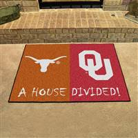 "Texas Longhorns - Oklahoma Sooners House Divided Rug 34""x45"""