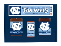 North Carolina Tar Heels TailGate Set (Hot Sauce, BBQ and Salsa)