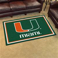 "Miami Hurricanes 4x6 Area Rug 46""x72"""