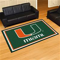 "Miami Hurricanes 5x8 Area Rug 60""x92"""