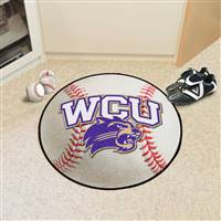 "Western Carolina (WCU) Catamounts Baseball Rug 29"" diameter"