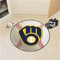 "Milwaukee Brewers Baseball Rug 29"" Diameter"