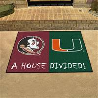 "House Divided - Florida State / Miami  House Divided Mat 33.75""x42.5"""