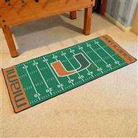"Miami Hurricanes Football Field Runner Mat 30""x72"""