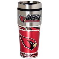 Arizona Cardinals Stainless Steel Travel Tumbler Metallic Graphics 16 Oz.