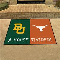 "Baylor Bears - Texas Longhorns House Divided Rug 34""x45"""