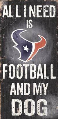 "Houston Texans Wood Sign - Football and Dog 6""x12"""