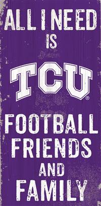 TCU Horned Frogs Sign Wood 6x12 Football Friends and Family Design Color - Special Order