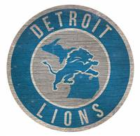 Detroit Lions Sign Wood 12 Inch Round State Design