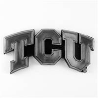 TCU Horned Frogs Auto Emblem Silver Chrome