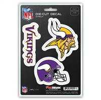 Minnesota Vikings Decal Die Cut Team 3 Pack