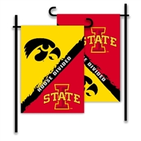 Iowa - Iowa State 2-Sided Garden Flag - Rivalry House Divided