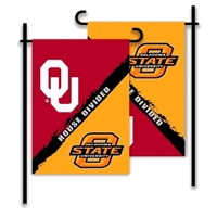 Oklahoma - Oklahoma State 2-Sided Garden Flag - Rivalry House Divided