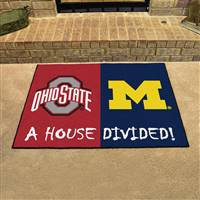 "Ohio State - Michigan House Divided Rug 34""x45"""