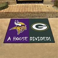 "NFL House Divided - Vikings / Packers House Divided Mat 33.75""x42.5"""
