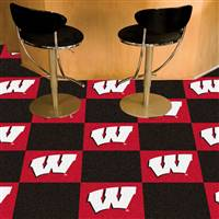 "Wisconsin Badgers Carpet Tiles 18""x18"" tiles, Covers 45 Sq. Ft."