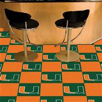 "Miami Hurricanes Carpet Tiles 18""x18"" tiles, Covers 45 Sq. Ft."