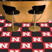 "University of Nebraska Team Carpet Tiles 18""x18"" tiles"