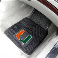 "Miami Hurricanes Heavy Duty 2-Piece Vinyl Car Mats 18""x27"""