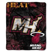 Miami Heat Blanket 50x60 Raschel Drop Down Design