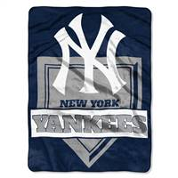 New York Yankees Blanket 60x80 Raschel Home Plate Design