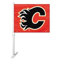 Calgary Flames Car Flag W/Wall Brackett