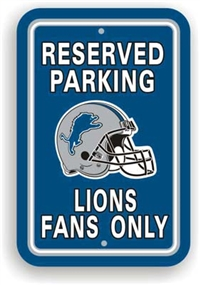 Detriot Lions Plastic Parking Sign - Reserved Parking