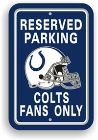 Indianapolis Colts Plastic Parking Sign - Reserved Parking