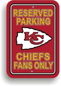Kansas City Chiefs Plastic Parking Sign - Reserved Parking