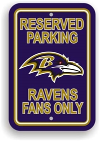 Baltimore Ravens Plastic Parking Sign - Reserved Parking
