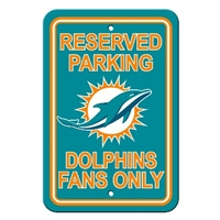 Miami Dolphins Plastic Parking Sign - Reserved Parking