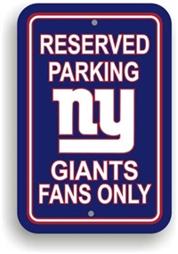 New York Giants Plastic Parking Sign - Reserved Parking