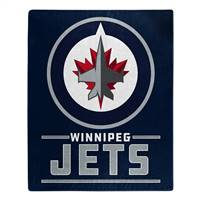 Winnipeg Jets Blanket 50x60 Raschel Interference Design - Special Order