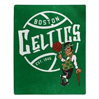 Boston Celtics Blanket 50x60 Raschel Blacktop Design