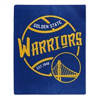 Golden State Warriors Blanket 50x60 Raschel Blacktop Design