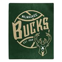 Milwaukee Bucks Blanket 50x60 Raschel Blacktop Design