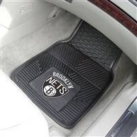 "Brooklyn Nets Heavy Duty 2-Piece Vinyl Car Mats 18""x27"""